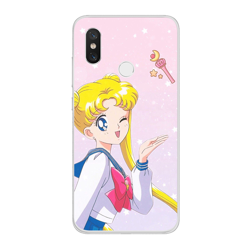 ciciber for Xiaomi MIX MAX 3 2 1 S Pro TPU For Xiaomi A2 A1 8 6 5 X 5C 5S Plus Lite SE PocoPhone F1 Cases Sailor Moon Cute Girl in Fitted Cases from Cellphones Telecommunications