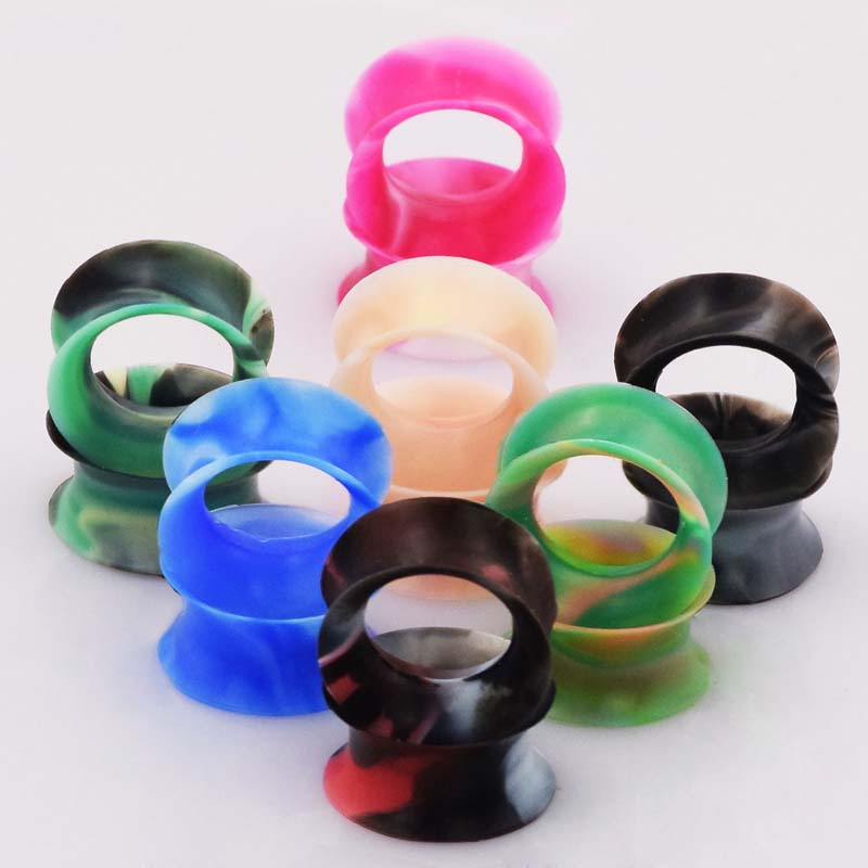 14 Pieces Flexible Silicone Ear Plugs Soft Flesh Tunnels Double Flared Ear Expander Gauge 6-20mm Many Colors Piercing Jewelrys