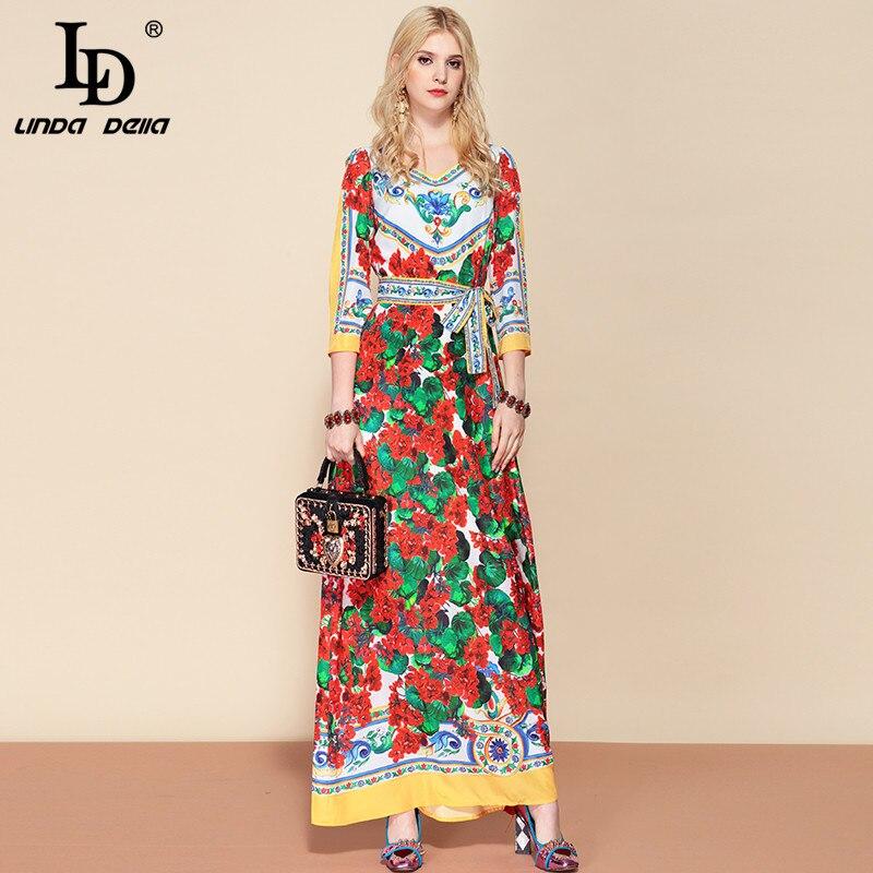 LD LINDA DELLA Fashion Designer Belted Maxi Long Dress Women s V Neck Elegant Floral Print
