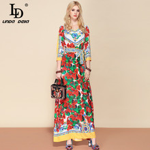 LD LINDA DELLA Fashion Designer Belted Maxi Long Dress Women's V Neck Elegant Floral Print Beach Bohemian Vacation Dress недорого