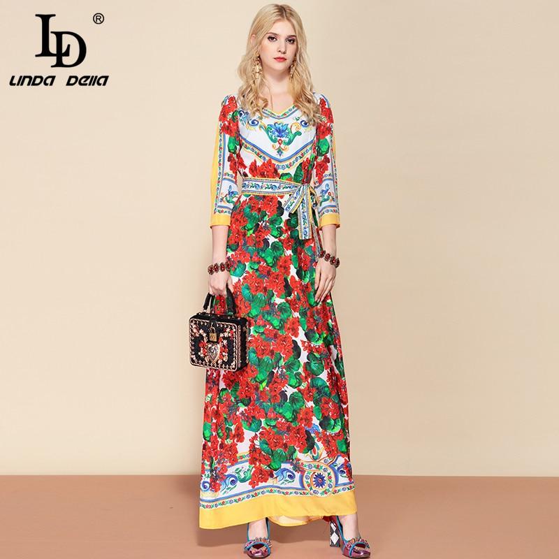 LD LINDA DELLA Mode Designer Belted Maxi Lange Kleid frauen V Neck Elegante Blumen Druck Strand Böhmischen Urlaub Kleid-in Kleider aus Damenbekleidung bei  Gruppe 1