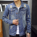 2016 Denim Jacket Men Jeans Solid rippen Slim Mens Jackets And Coats Casual Bomber Jacket Men Jacket Male 2016 M-4xl Veste Homme