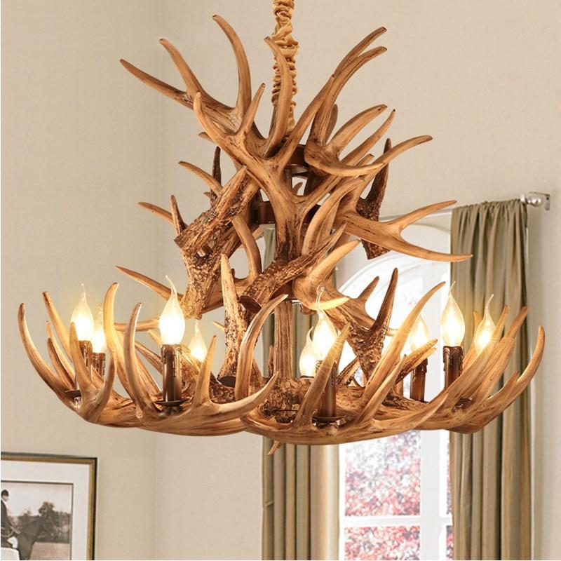 Braun Geweih Harz Kronleuchter Lampe Moderne Led Geweih Kronleuchter Lustre  Licht Lampe Kronleuchter E14 Vintage Lichter