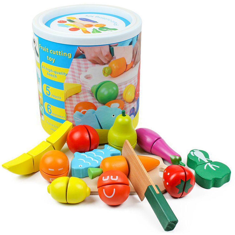 Baby Wooden Toys Pretend Play Kitchen Toys with Bucket Cutting Fruit and Vegetable Educational Classic Toys for ChildrenBaby Wooden Toys Pretend Play Kitchen Toys with Bucket Cutting Fruit and Vegetable Educational Classic Toys for Children