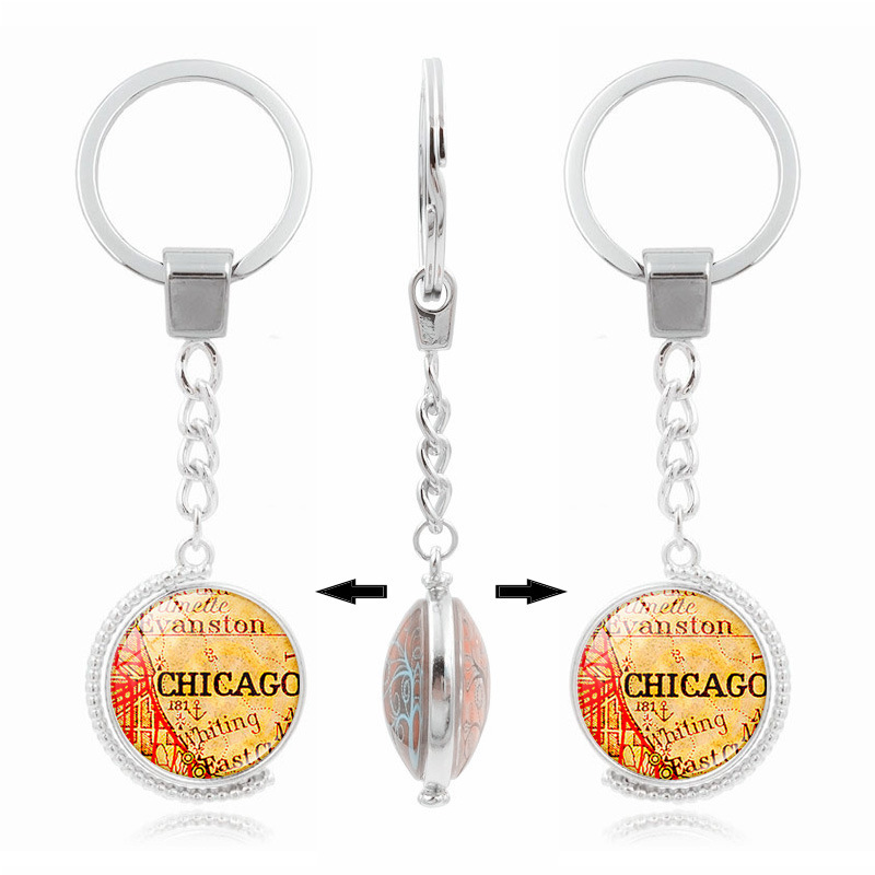 Cute Keychain Silver Plated Jewelry with Rotate Chicago Map Pattern Glass Cabochon Car Key Chain Ring for Unisex Gift