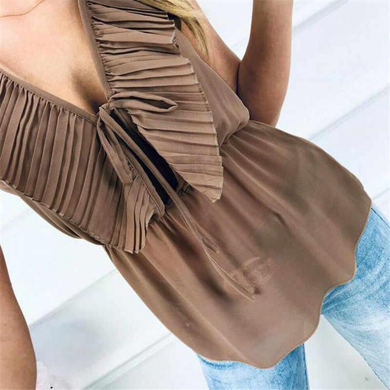 2019 сексуальная летняя женская рубашка с v-образным вырезом и рюшами повседневные топы для женщин топы жилет Блузка Falbala Туника свободные рубашки