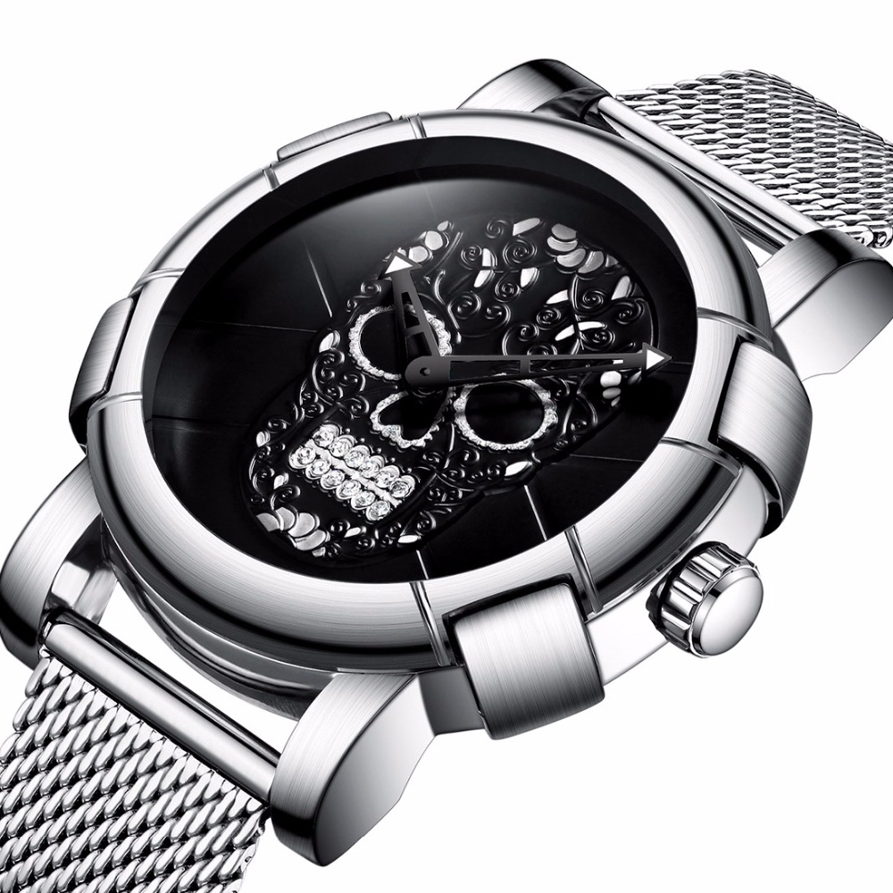 GIMTO Personality Skull Men Watch Luxury Brand Steel Vintage Quartz Wristwatch Waterproof Male Female Sport Clock Montre Relogio доска глад gimi advance 100 122х38см с поддержив крупного белья краш сталь пластик хлопок