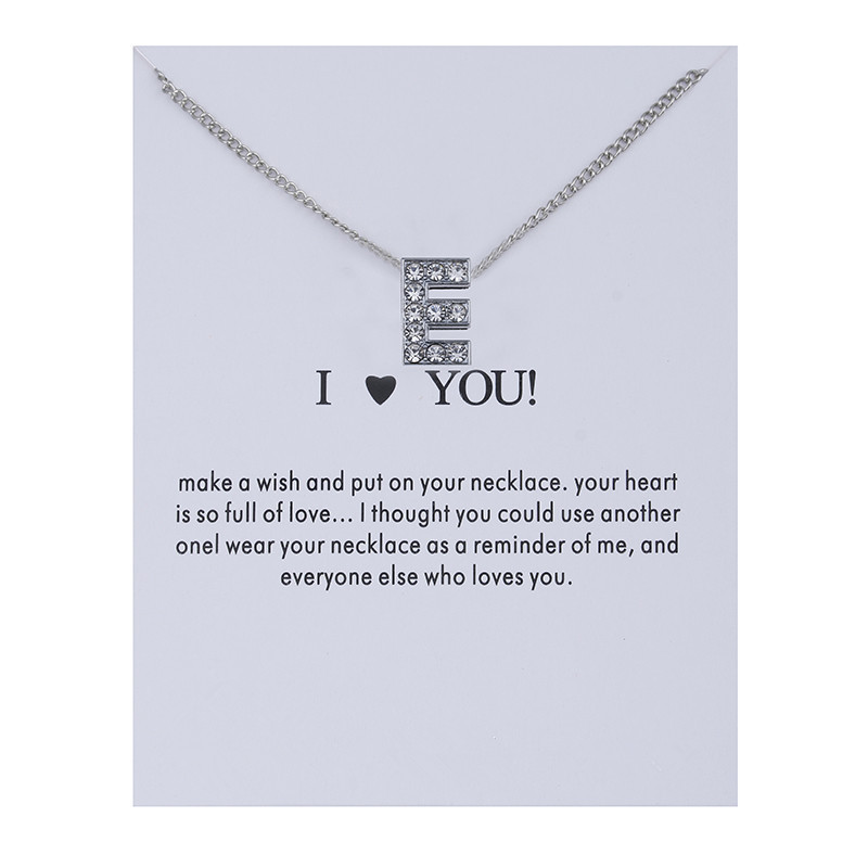 Fashion Alphabet Initial Letters Message Crystal Necklace Pendant Women Sweater Chain Necklaces I Love You Jewelry Best Gift in Choker Necklaces from Jewelry Accessories