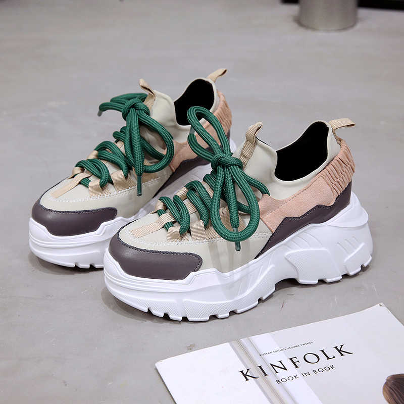 e7f9e5c0f56 Stylish Height Increasing 6 CM Women Running Shoes Luxury Brand Thick Sole  Sneakers Chunky Sport Shoes