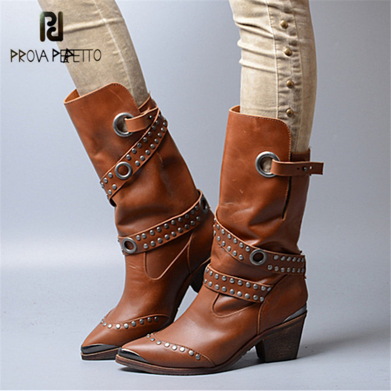 Prova Perfetto Iron Pointed Toe Women Mid-Calf Boots Chunky High Heel Boot Rivets Studded Botas Platform Rubber Martin Boots prova perfetto winter women warm snow boots buckle straps genuine leather round toe low heel fur boots mid calf botas mujer