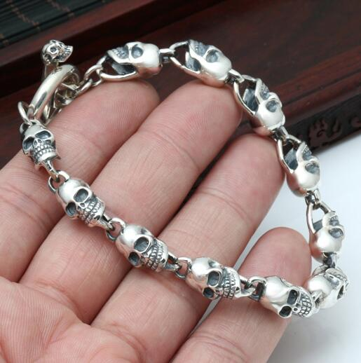 925 Silver Skeleton Bracelet Thai Skull Real Pure Vintage Style Punk Man Jewelry Gift In Chain Link Bracelets From