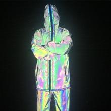 дешево!  2019 осень зима мужчины красочные светоотражающие длинное пальто нерегулярные молния плащ лента лоск