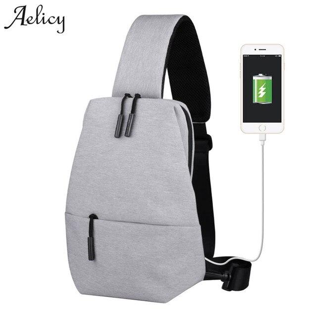 Aelicy Usb Design Large Capacity Chest Pack Zipper Messenger Bags Men S School Bag Modern Shoulder