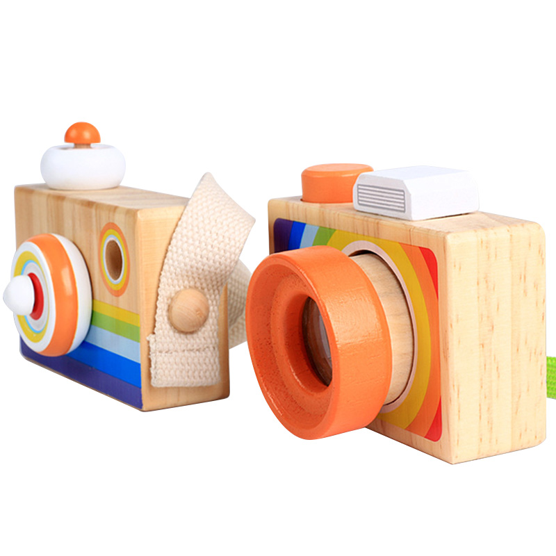 2018 New Children Wooden Camera Toys Classic Cartoon Camera Kaleidoscope Magic Education Baby Kids Montessori Learning Toy Gift