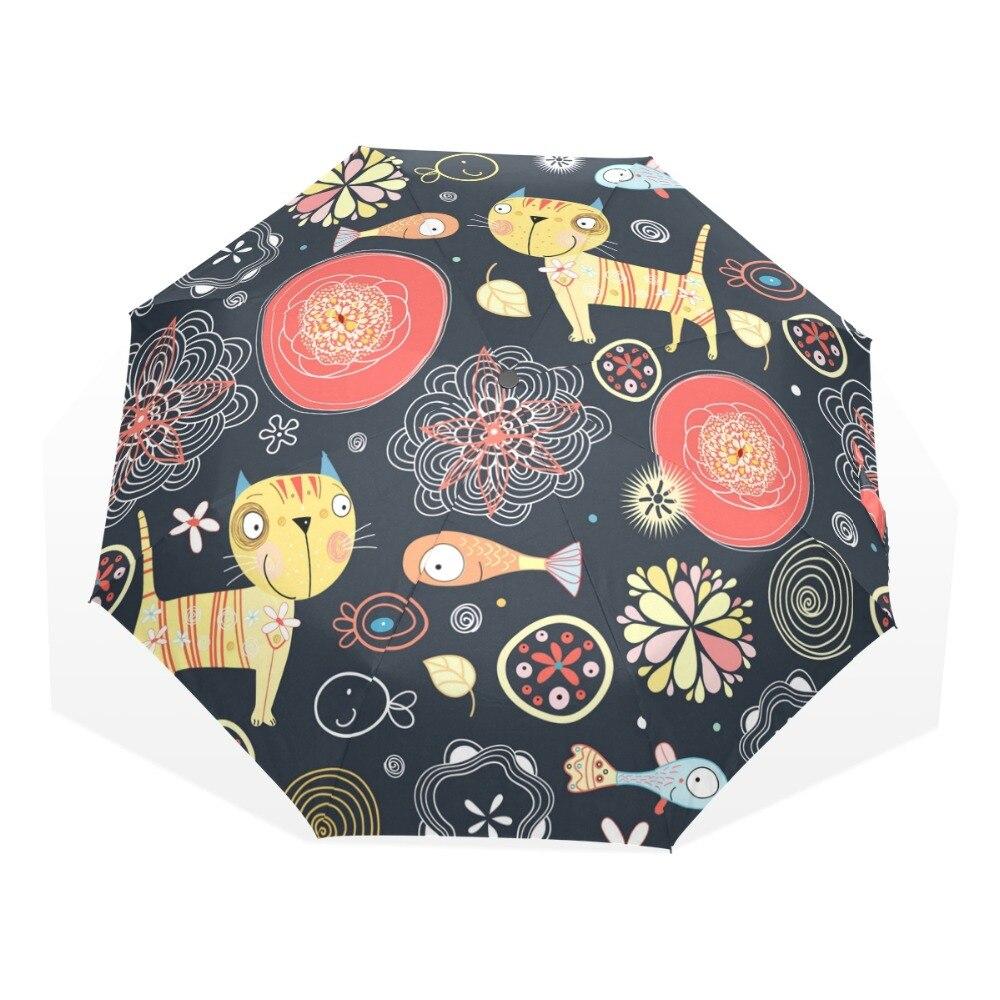 Cat and Fish Windproof Ultralight Sun Rain Automatic Folding Umbrella Rain Women Umbrellas Lady Umbrella Anti UV parasol
