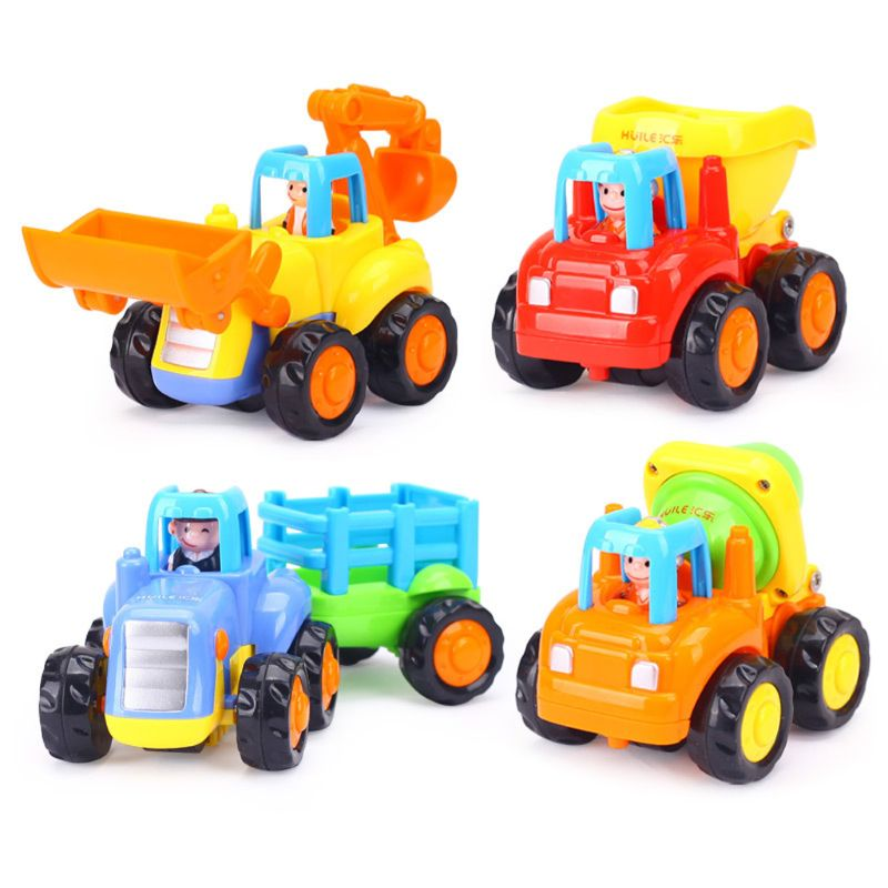 Thicken Push And Go Car Construction Vehicles Toys Pull Back Cartoon Play For 2 3 Years Old Boys Toddlers Kids Gift MAR-20