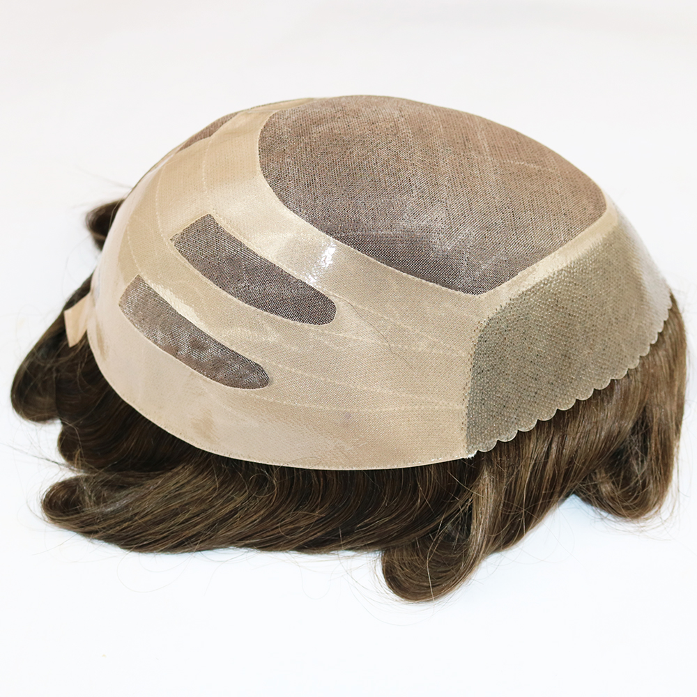 120% Density Hairpiece Natural As Real Human Hair Humainsvierges Toupee NPU Hairpiece Wigs Wig Cap For Black White Men
