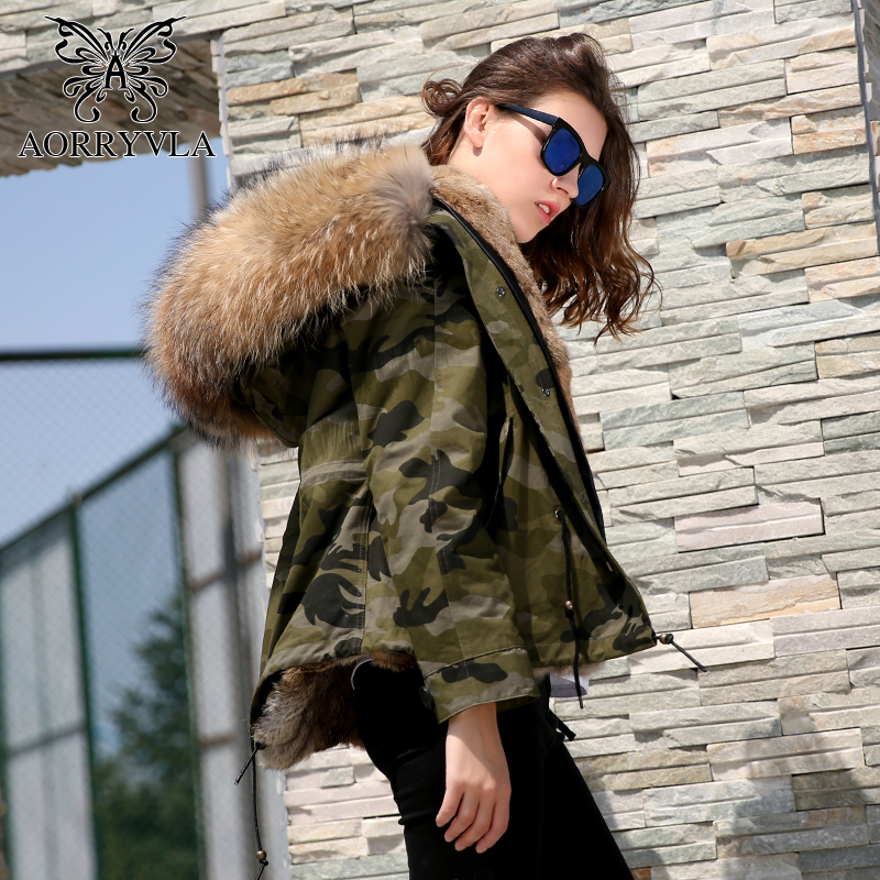 AORRYVLA 2018 Winter Women's Fur   Parkas   Short Jacket Camouflage Natural Collar Hooded Coat Real Rabbit Lining Warm Female Jacket
