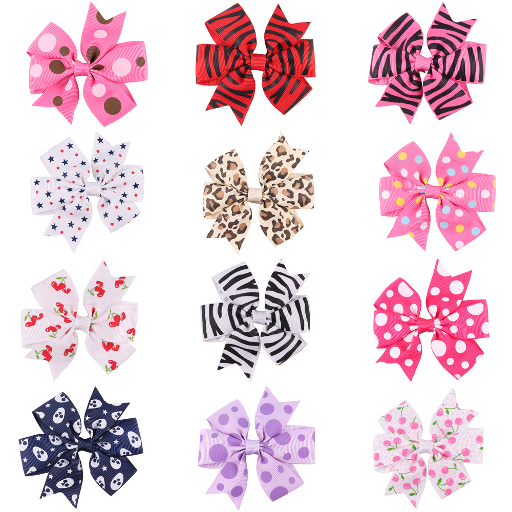 3.5 Inch Big Stacked Boutique Hair Bows Hair Clips Purple Pink Polka Dot Bows Hairpin For Girl Cute Kids Hair Accessories HC083 women hair accessories girl hair fascinators wool felt hat flower girl hair bows with clips
