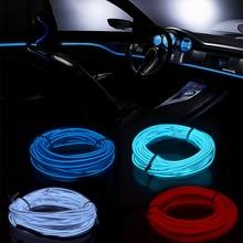 3 м/5 м светодиодные ленты для автомобиля украшения ленты 12 V гибкий неоновая электрическая проволока веревку Крытый универсальный интерьер светодиодный автомобилей светодиодные полосы для авто