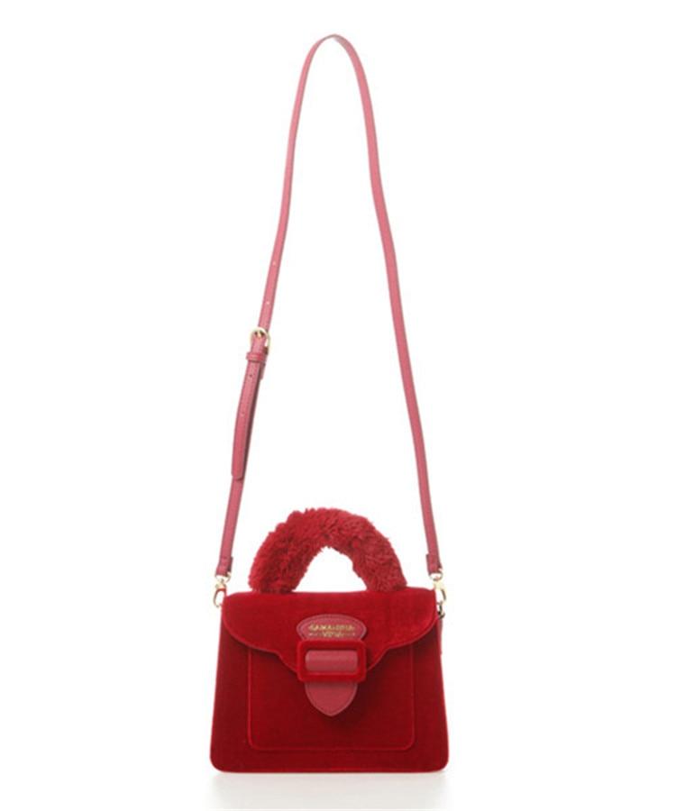 17 Christmas limited velvet suede handbag Samantha Vega plush handle organ shoulder bag Retro small flap square Messenger bag 9