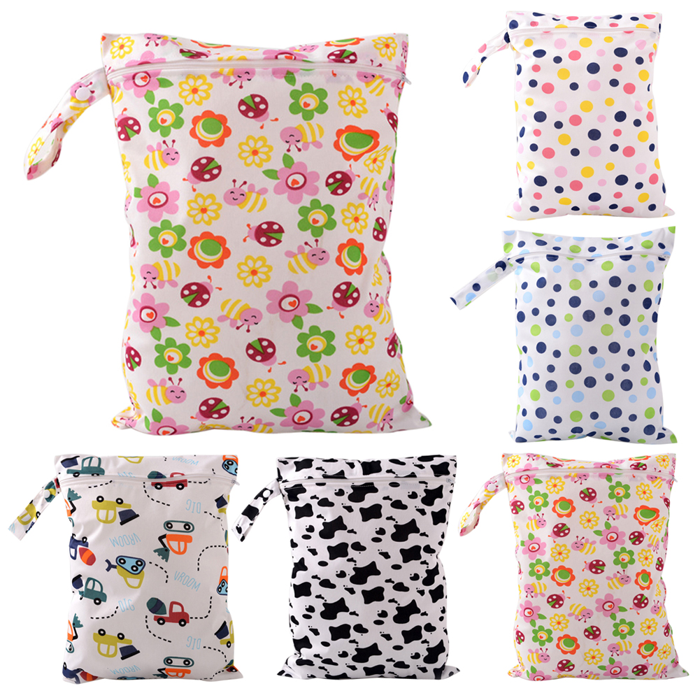 Waterproof Baby Diaper Bags Character Print Changing Wet Bag Reusable Washable Baby Cloth Travel Zipper Dry Diapers Storage Bag