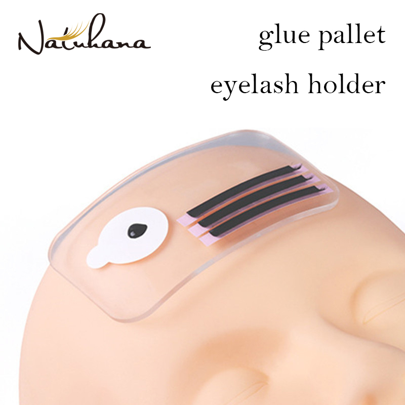 NATUHANA Silicone Eyelash Extension Stand Glue Pallet Pad Fore Head Eye Lash Tray Holder Tools Clear Flexible Holder