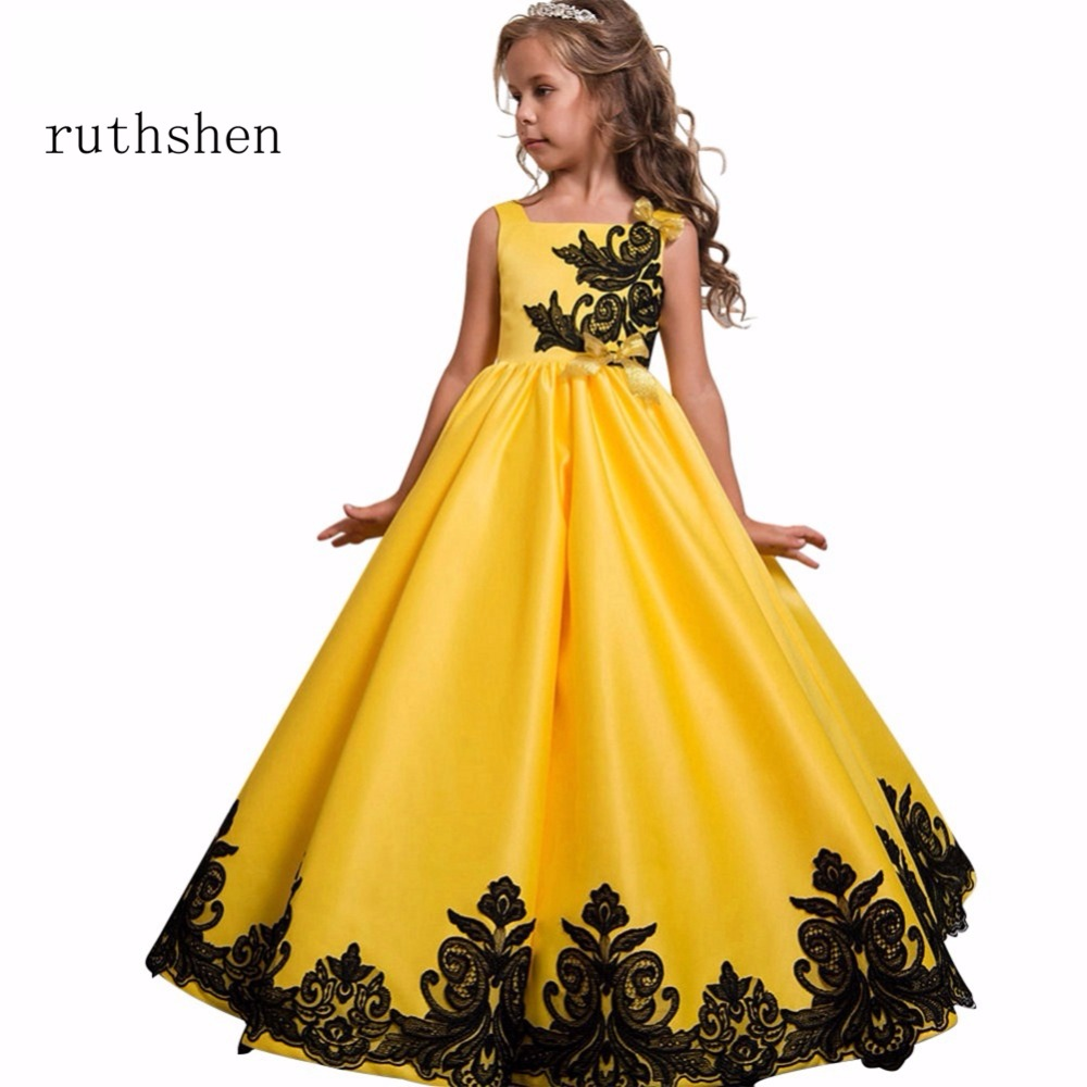 Ruthshen In Stock 2018 Baby Real Photo Princess Flower Girls Dresses For Wedding With Appliques Bow Kids Floor Length Ball Gowns