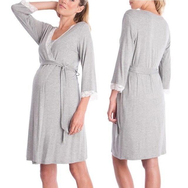 2ec96a2b0 Gravidez maternidade Pijamas Camisola de Maternidade Vestido de Renda  Sleepwear Roupas de Enfermagem Amamentação Grávida Elegante