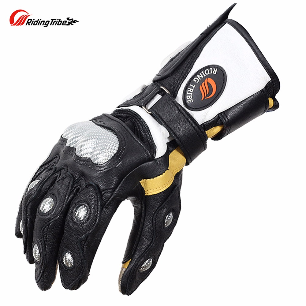 Riding Tribe Goatskin Motorcycle Gloves Carbon Fiber Superb Protection Winter Genuine Leather Moto Racing Guante Fashion MCS-34