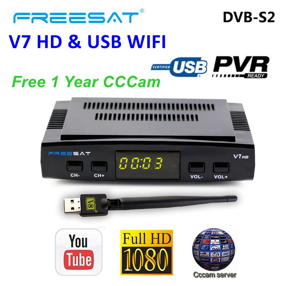 CCCAM Freesat  V7 HD DVB-S2 Satellite Receiver Full HD 1080P H.264 With USB WIFI 1-Year 5 Lines Europe Spain Cline PowerVu,DRECCCAM Freesat  V7 HD DVB-S2 Satellite Receiver Full HD 1080P H.264 With USB WIFI 1-Year 5 Lines Europe Spain Cline PowerVu,DRE