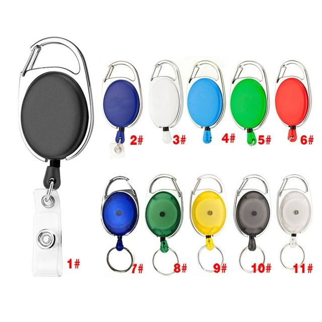 newly retractable pull keychain lanyard id badge holder name tag