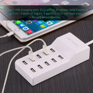 Image 2 - Powstro 10 USB Charger Station Splitter 60W Mobile Phone Charger HUB Smart IC Charge Universal for iPhone Samsung Mp3 Tablet Etc