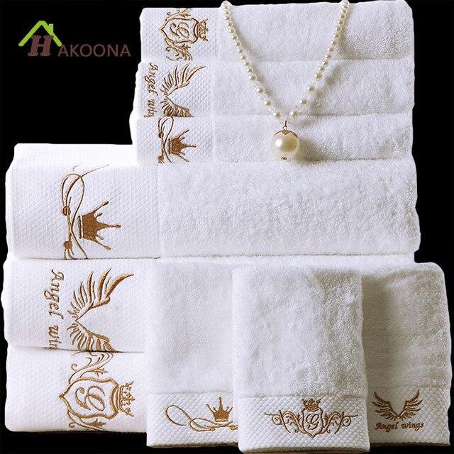 HAKOONA Hotel di Lusso Athena Goddess Corona Ricamato Bianco Telo da bagno 160*8