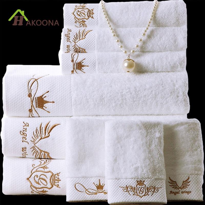 HAKOONA Луксозен хотел Athena богиня корона бродирани бяла баня кърпа 160 * 80 см памук възрастни меки абсорбиращи големи дебели кърпи