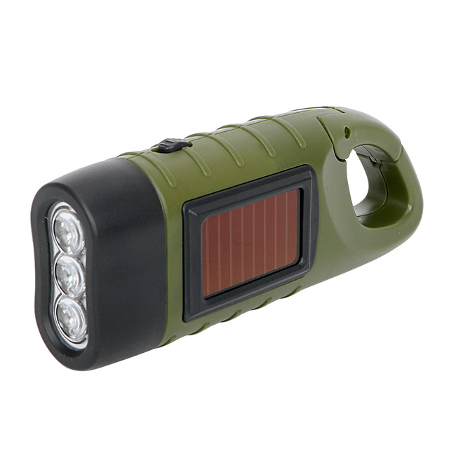 Portable LED Flashlight Hand Crank Dynamo Torch Lantern Professional Solar Power Tent Light for Outdoor Camping Mountaineering 6