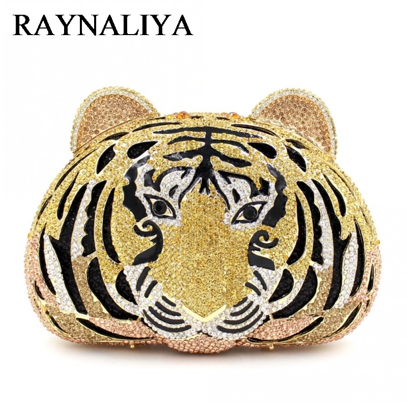 Tiger Crystal Evening Bags Women Luxury Clutch Prom Bag Studded Diamond Evening Clutches Purse Party Animal ZH-A0216 angel clay игровой набор для творчества princess accessories