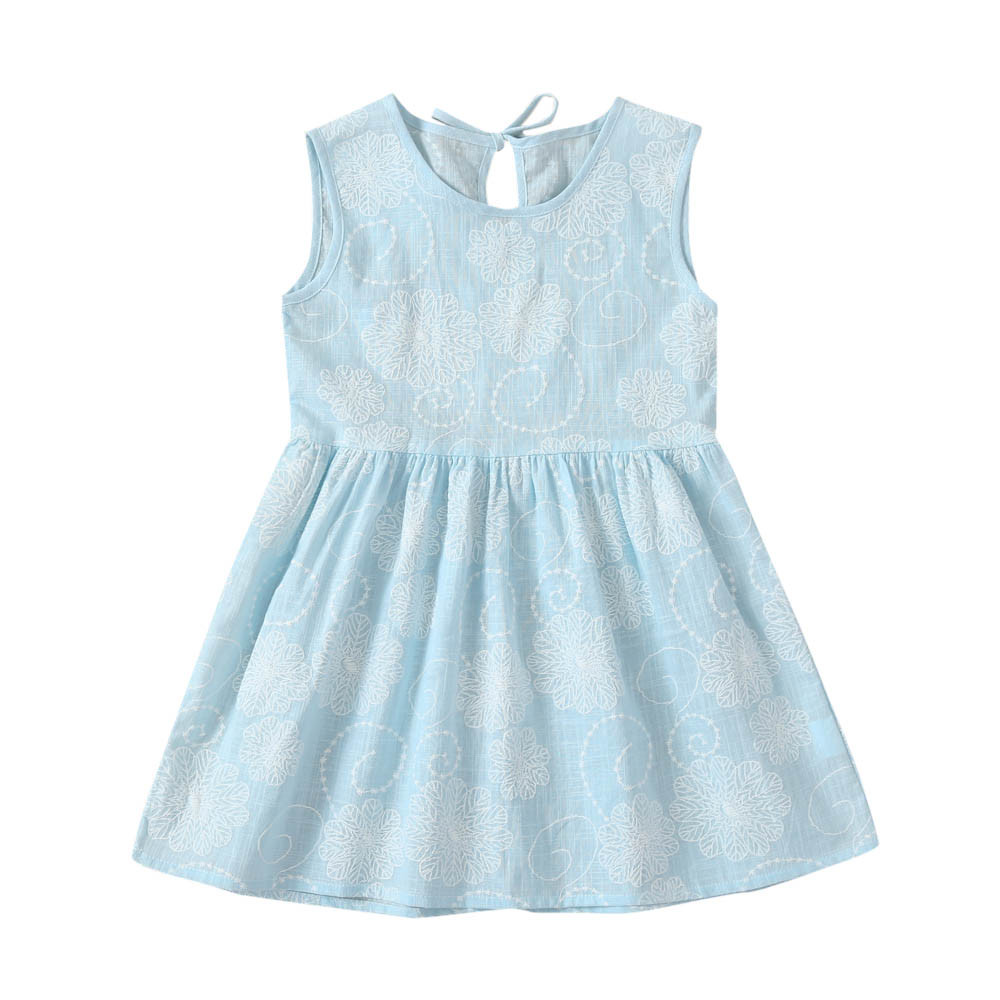 ea8f4df1209f Aliexpress.com : Buy 0 3 Years Old Light blue Toddler Kids Baby Girls  Travel Dress Floral Print Sleeveless Princess Dress Outfits dropship CC#  from Reliable ...