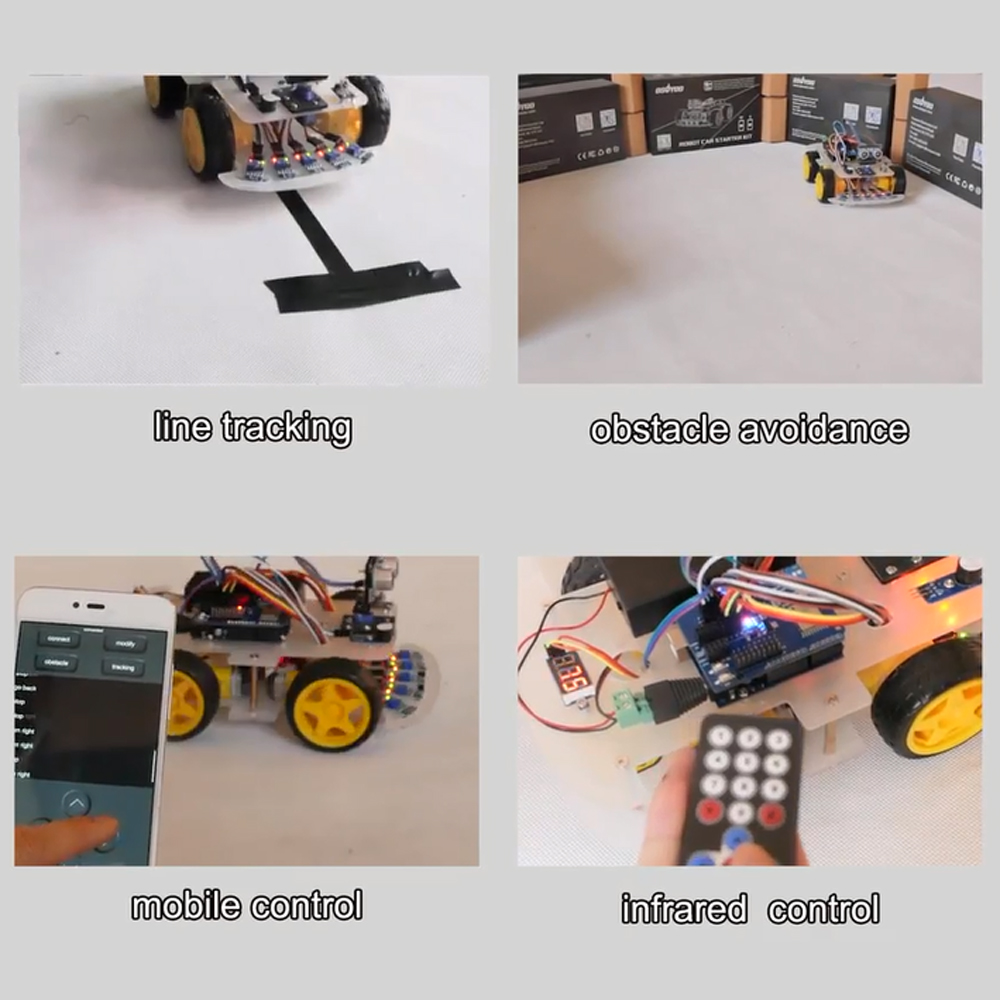 Image 5 - OSOYOO 4WD DIY Smart Robot Car For Arduino Starter Learning kit Bluetooth WiFI Expansion Module Board ios  Android APP-in Demo Board from Computer & Office