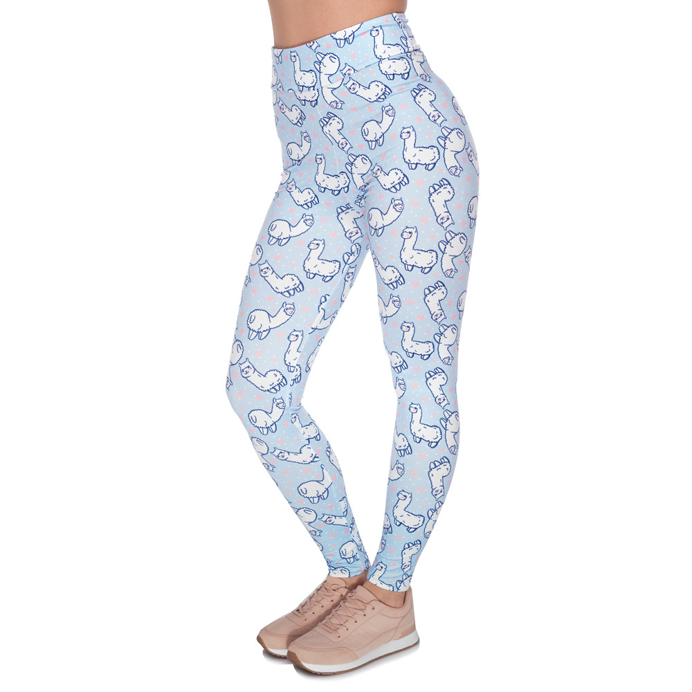 Women High Waist Legging Alpaca Love Printing Fitness Leggings Fashion Slim Woman Pants
