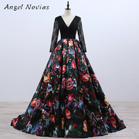 Long Sleeve Ball Gown Floral Print Celebrity Dresses 2018 Corset Back V Neck Formal Evening Gown