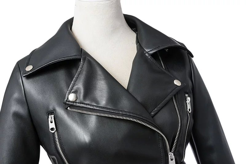 Black Zipper Long Sleeve Motorcycle Punk Faux Soft Leather Jacket Coat 3