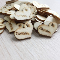 50pcs Natural Love Wooden Hearts Scrapbooking Carft for Wedding Decoration Table Scatter Confetti Painted Rustic Ornament