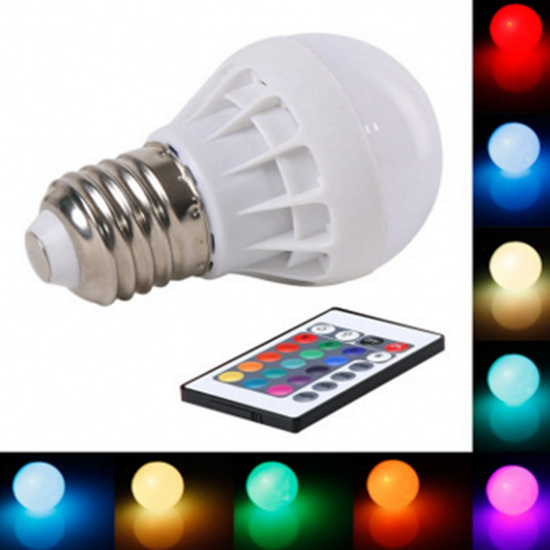 7W E27 E14 LED RGB LED Light Bulb With IR Remote Control Pop Lamp Color Changing AC 85-265V 16 Colors Changing LED Bulbs Tubes
