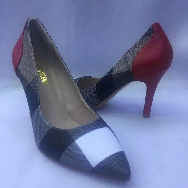 Wenzhan مخطط نمط المرأة مضخات الأحذية مباراة المرأة الناعمة حقيبة مجموعات ، امرأة أشار تو فاخر مصمم الأحذية مع حقيبة A83 14-في أحذية نسائية من أحذية على  مجموعة 2