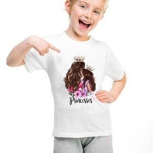 Image 5 - 2020 moda mãe filha roupas combinando casual princesa imprimir família t camisa combinando mãe filha roupas femininas tshirt