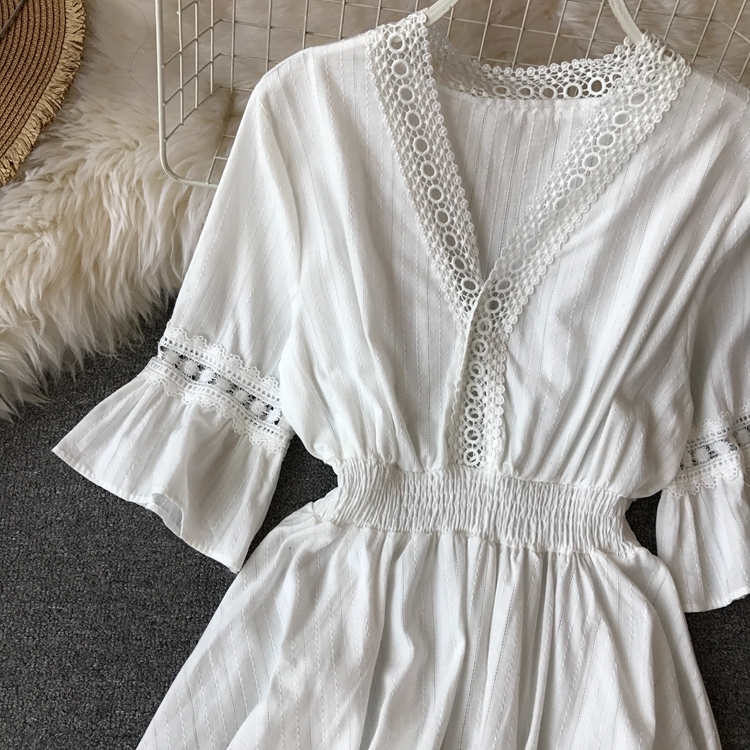 309d9de5303 2019 New Fashion Women Casual Sexy V-Neck Long Sleeve Lace Trim ...