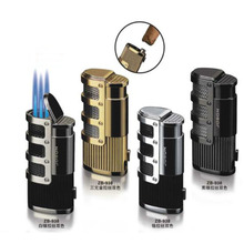1pcs JOBON Windproof Triple Jet Flame Cigar Tobacco Lighter Refillable Butane Gas Torch Lighter with Cigar Punch Cutter Tool