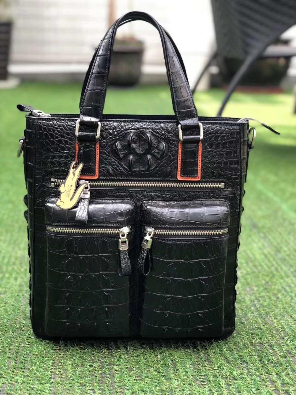2018 Fashion Men's Genuine/Real 100% Crocodile Skin Briefcase Laptop Bag, Crocodile Skin Business Men Bag Fashion Business Bag