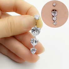 925 sterling silver belly button ring heart cubic zircon navel belly piercing jewelry